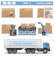 Postal Icons Set 1 vector image vector image
