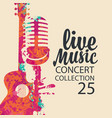 poster for live music concert with guitar and mic vector image vector image