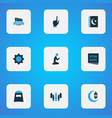 ramadan icons colored set with hijab menu islam vector image vector image