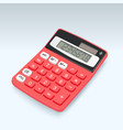realistic red calculator icon isolated on white vector image