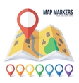 Red point marker on yellow city map in flat vector image vector image