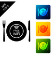 restaurant free wi-fi zone icon isolated on white vector image vector image