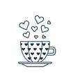 romantic cup hearts line art icon vector image vector image