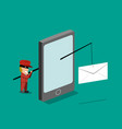 scammer send phishing mail mobile phone vector image vector image