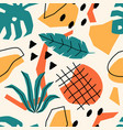 seamless pattern with tropical jungle leaves vector image vector image