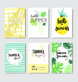 set enjoy summer palm pineapple badge isolated vector image vector image