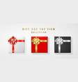 set gift box with bow and ribbon top view element vector image vector image