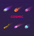 set isolated falling comet or burning star vector image