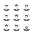 set of men avatar template user icons collection vector image