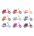 set of scooters in different colors vector image