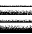 set of silhouette of grass isolated on white vector image vector image