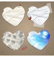 set paper in shape heart vector image