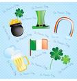 St Patricks Day colorful elements on vintage backg vector image