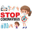 stop coronavirus with girl holding vector image vector image