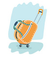 stylish yellow suitcase on wheels with telescopic vector image vector image