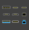 usb type a b and usb type c plugs micro vector image vector image