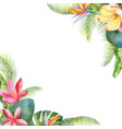 watercolor card with tropical leaves and vector image vector image