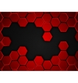 abstract red and black background with hexagons vector image