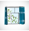 Window with curtains on a bright background vector image