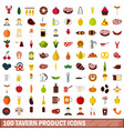 100 tavern product icons set flat style vector image vector image