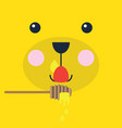 abstract cartoon teddy bear face licking honey vector image vector image