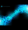 abstract technology blue circles motion on black vector image vector image