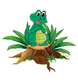 An alligator above a wood vector image vector image