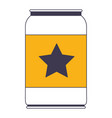beer can with star emblem in color sections vector image