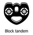 block tandem icon simple black style vector image vector image