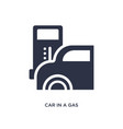 car in a gas station icon on white background vector image vector image