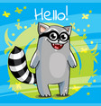 cartoon raccoon hello vector image