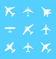 cartoon white silhouette airplane set vector image