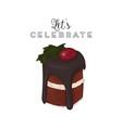 christmas brownie chocolate cake greeting card vector image