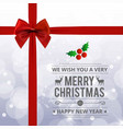 christmas card with red ribbon and typographic vector image