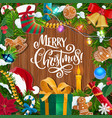christmas wreath with gifts on wooden background vector image vector image