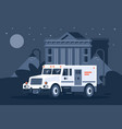 collector s car next to the bank under cover vector image vector image