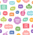 Colorful phrases seamless pattern on white vector image vector image