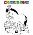 coloring book donkey theme 1 vector image vector image