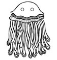 coloring page with cartoon jellyfish vector image