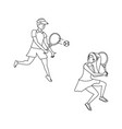 couple playing tennis avatar character vector image vector image