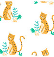 cute leopard hand drawing and seamless pattern vector image vector image
