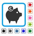 euro piggy bank framed icon vector image vector image