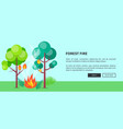 forest fire web poster with inscription vector image vector image