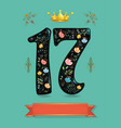 glared floral number seventeen with golden crown vector image vector image