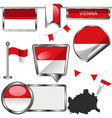 glossy icons with flag of vienna austria vector image vector image