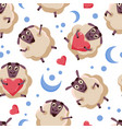 good night seamless pattern with cute cartoon vector image