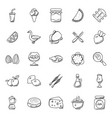 hand drawn doodle icons food theme vector image