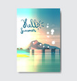 hello summer beach mountain landscape badge design vector image vector image