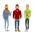 Hipster Cartoon People Set vector image vector image