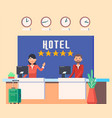 hotel lobwith man and woman receptionist vector image vector image